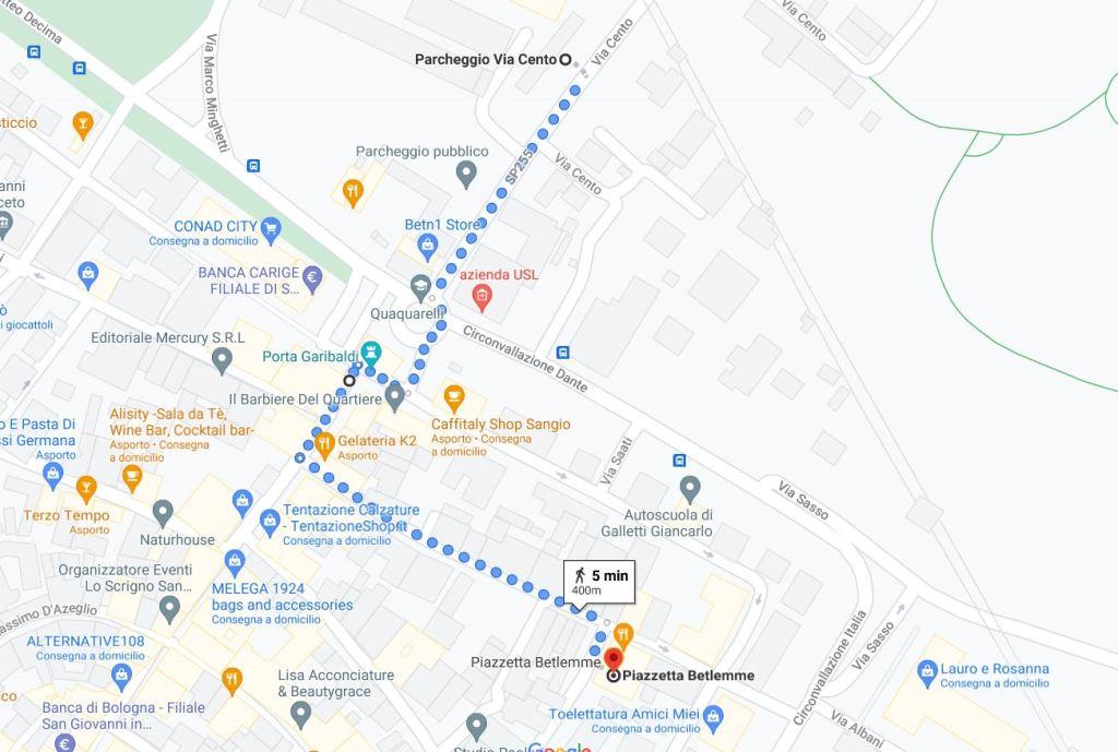 Mappa di San Giovanni in Persiceto: come raggiungere Piazzetta Betlemme.